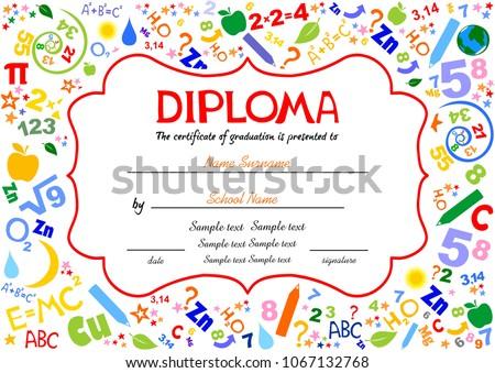Certificates Kindergarten And Elementary, Preschool Kids Diploma Certificate  Background Design Template, Diploma Template For