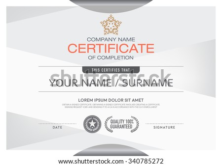 Certificates modern and clean color and placement of the sample into a professional. Making this announcement A beautiful and elegant place to deliver outstanding achievement in each of the recipients - stock vector