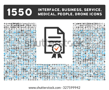 Certified and other web interface, business tools, people poses, medical service vector icons. Style is flat symbols, bicolored, rounded angles, white background. - stock vector