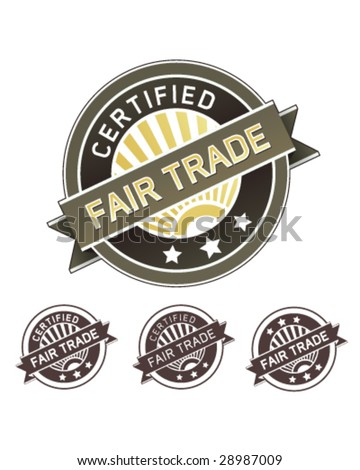 Certified fair trade good and food label sticker for use on product packaging, print materials, websites and in advertising and promotion - stock vector