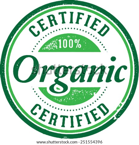 Certified Organic Product Stamp - stock vector