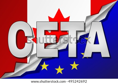 Ceta Comprehensive Economic Trade Agreement Between Stock Vector