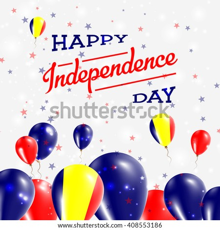 Chad Independence Day Patriotic Design. Balloons in Chadian National Colors. Happy Independence Day Chad Vector Greeting Card.
