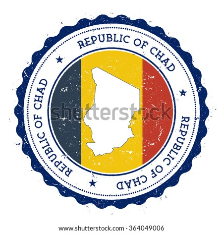Chad map and flag in vintage rubber stamp of country colours. Grungy travel stamp with map and flag of Chad, vector illustration