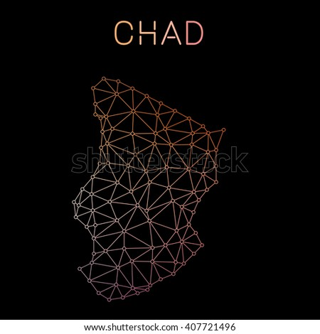 Chad network map. Abstract polygonal Chad network map design. Map of Chad network connections. Vector illustration. - stock vector