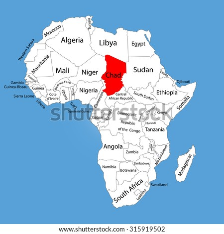 Chad vector map silhouette isolated on Africa map. Editable vector map of Africa.  - stock vector