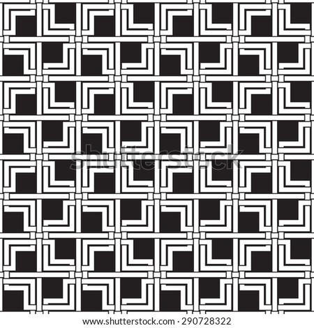 Chain mail of intersecting double squares and lines. Celtic seamless pattern with swatch for filling. Fashion background for web or printing design. - stock vector