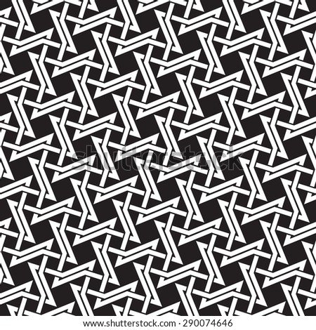 Chain mail of intersecting four-point thorns. Celtic seamless pattern with swatch for filling. Fashion geometric background for web or printing design. - stock vector