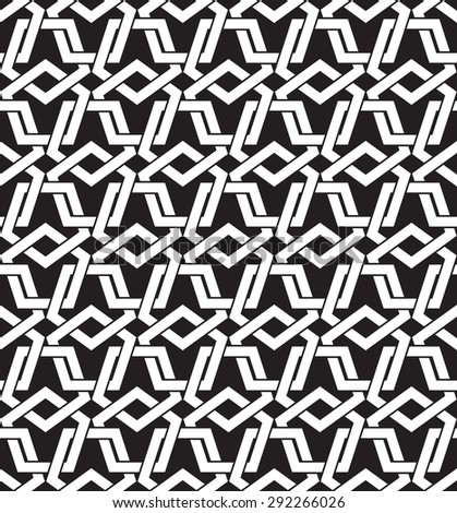 Chain mail of intersecting pentagons. Celtic seamless pattern with swatch for filling. Fashion background for web or printing design. - stock vector