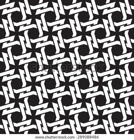 Chain mail of the links in form of four-point thorns. Celtic seamless pattern with swatch for filling. Fashion geometric background for web and tattoo design. - stock vector