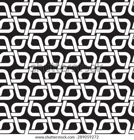Chain mail of the links in form of rhombuses. Celtic seamless pattern with swatch for filling. Fashion geometric background for web and tattoo design. - stock vector