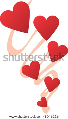 chain of hearts - stock vector