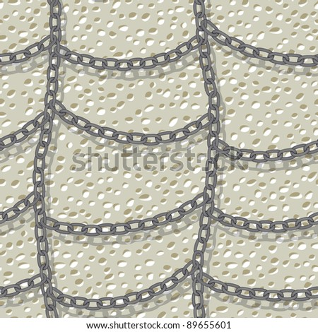 chain on wall seamless background - stock vector