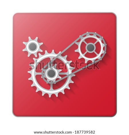 Chain with cogwheels icon abstract background - stock vector