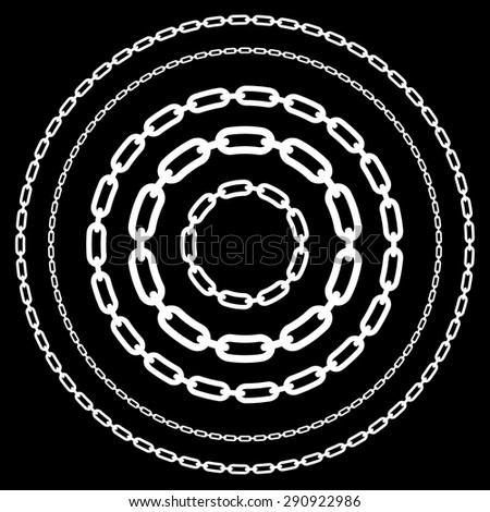 Chains in circles in various widths. Chains, chain link shapes isolated. Various versions. Editable vector. - stock vector