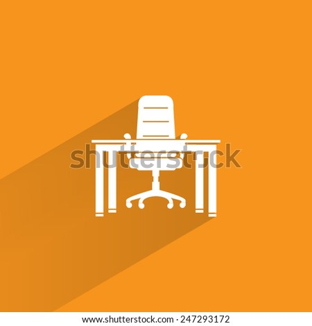 chair and desk vector icon - stock vector