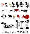 chair and table collection - vector - stock vector