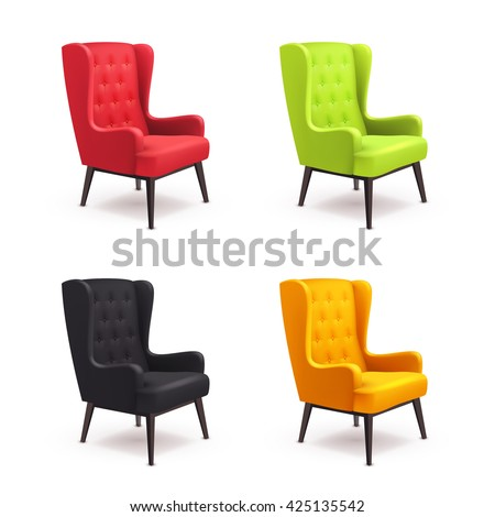 Chair realistic icon set four identical chairs with different colors are soft colorful with wooden legs vector illustration - stock vector