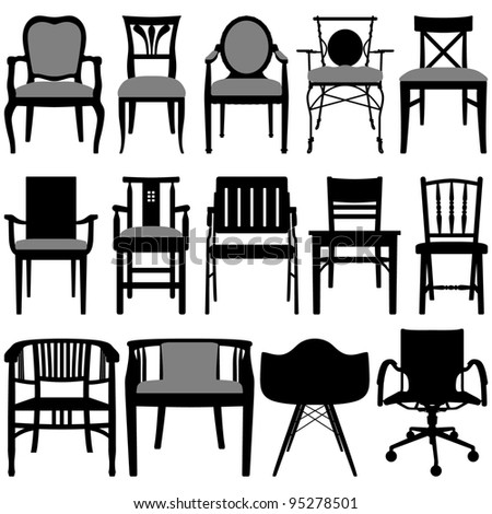 Chair Set Black - stock vector