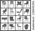 chair set, icon set - stock photo
