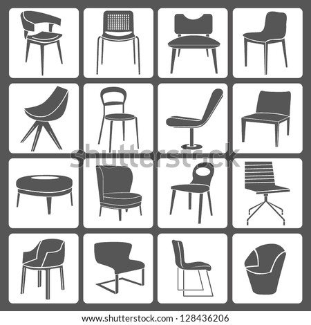 chair set, icon set - stock vector