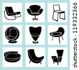 chair set, interior decoration set, furniture design set, icon set - stock vector
