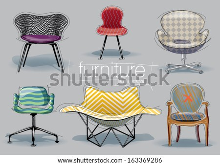 Chair set. Vector sketch style - stock vector