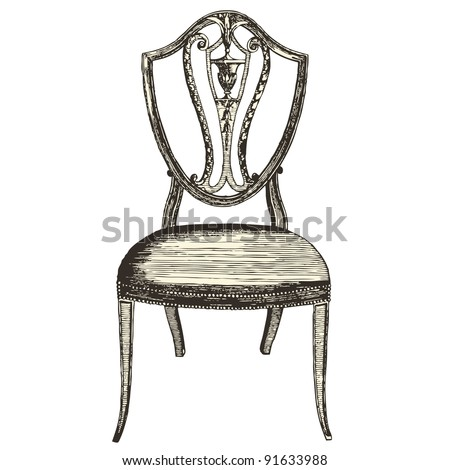 """Chair 18th century style - Vintage engraved illustration - """"Le Mobilier"""" Ed.Edouard Rouveyre  in 1915 France - stock vector"""