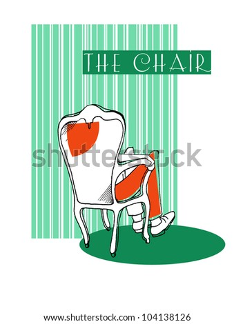 chair with man on a green background - stock vector