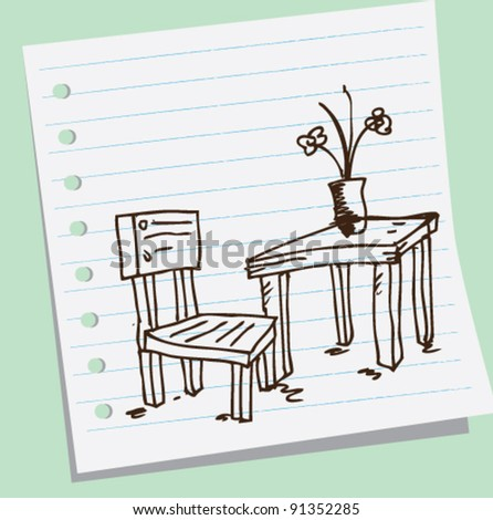 Chairs and tables doodle sketch illustration - stock vector