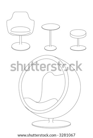 CHAIRS SET vector - stock vector