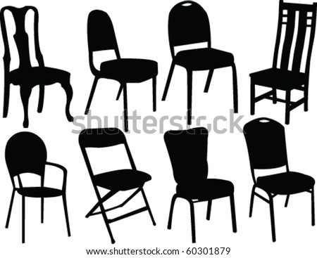 chairs silhouette collection - vector - stock vector
