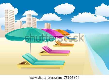chairs with unbrellas on the beach - stock vector