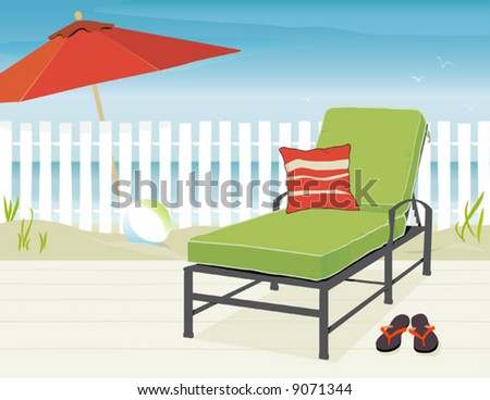 Chaise Lounge and Market Umbrella at beach; Easy-edit layered file. - stock vector