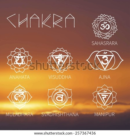 Chakra (background sunset sky) energy - stock vector