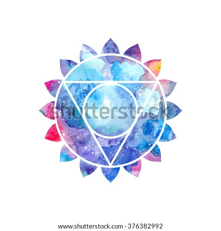 Chakra Vishuddha icon, ayurvedic symbol, concept of Hinduism, Buddhism. Watercolor cosmic texture. Vector isolated on white background - stock vector