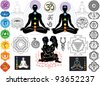 Chakras and esoteric symbols - stock photo