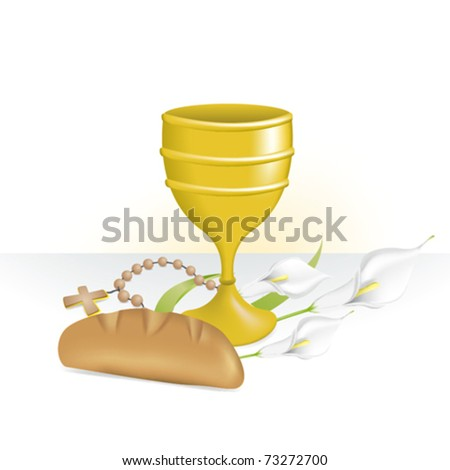 Chalice for holy communion and rosary