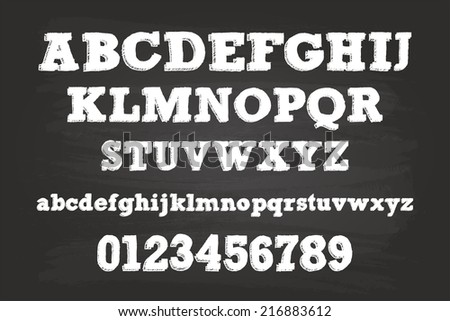 Chalk Alphabet Characters On Blackboard - stock vector