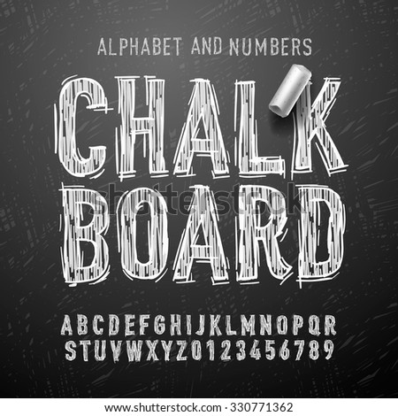 Chalk alphabet letters and numbers, vector illustration. - stock vector