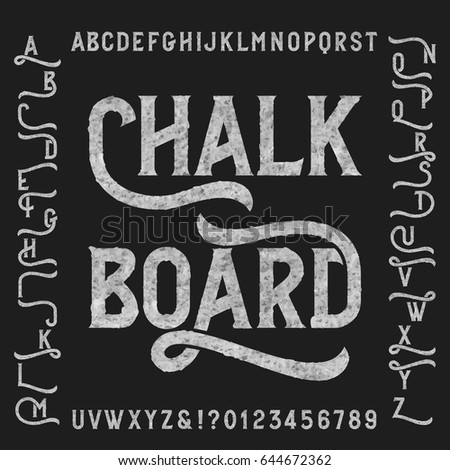 Chalk board alphabet font with alternates. Retro letters, numbers and symbols. Vintage vector typeface for your design.