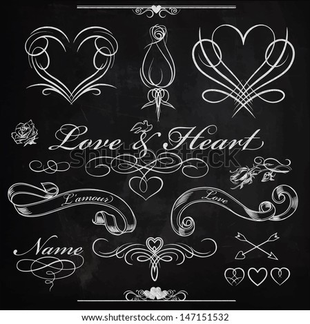 Chalk board calligraphy set - love and heart - stock vector