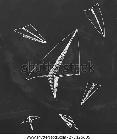 Chalk board hand drawn paper planes. Vector illustration. - stock vector