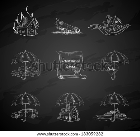 Chalk board insurance security icons design elements isolated hand drawn sketch vector illustration - stock vector
