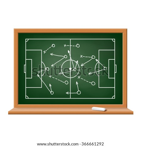 Chalk board. Tactics and scheme football game. Isolated on white background. Stock vector illustration.