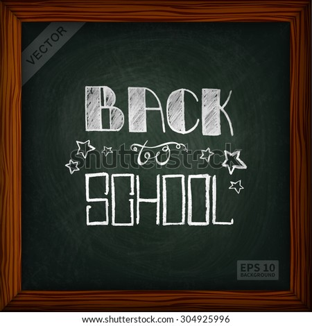 Chalk boards. The texture of the chalk, in a wooden frame (square). lettering back to school. The image can be used for your business, office, shop, cafe, book design, wedding decor