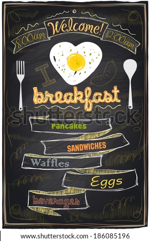 Chalk breakfast menu. I love breakfast. Eps10 - stock vector
