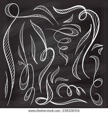 Chalk decorative curls and swirls design elements. - stock vector