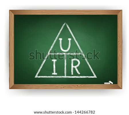 chalk drawing Ohm law - stock vector