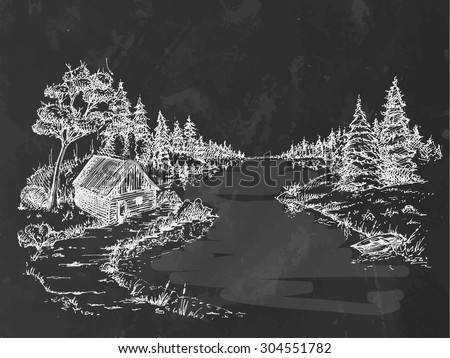Chalk drawing river in forest. Beauty landscape. Vector illustration  - stock vector